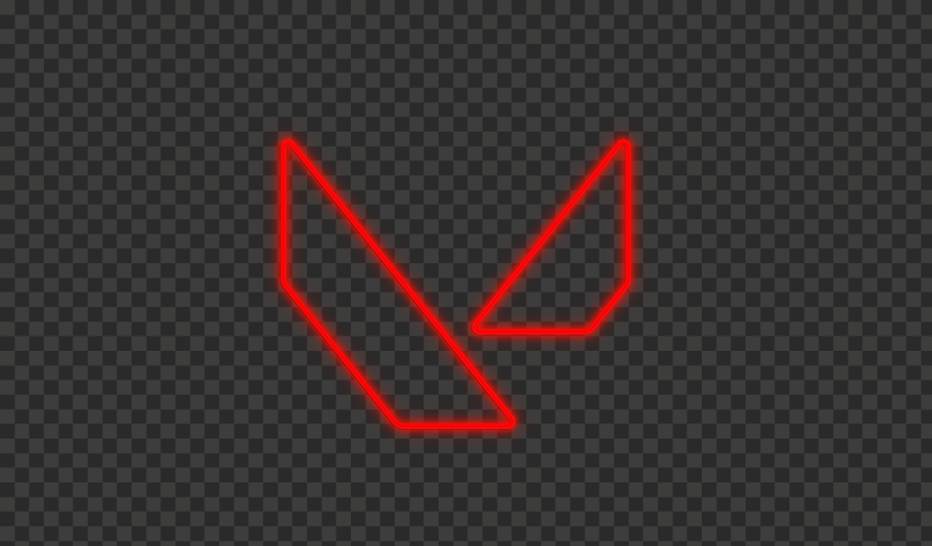 HD Valorant Red Neon Symbol Sign Logo PNG