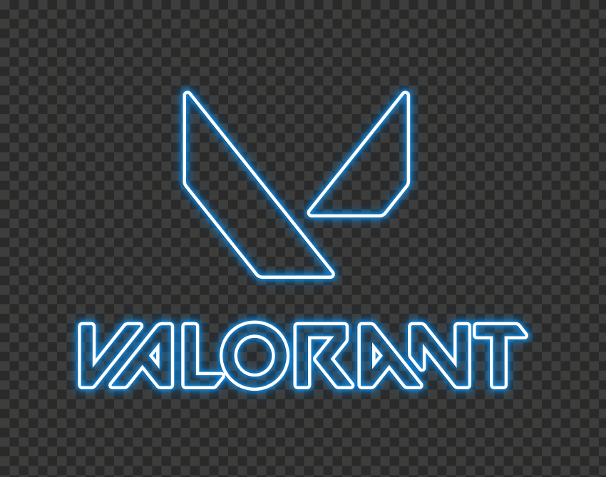 HD Valorant Blue Neon Logo With Symbol PNG