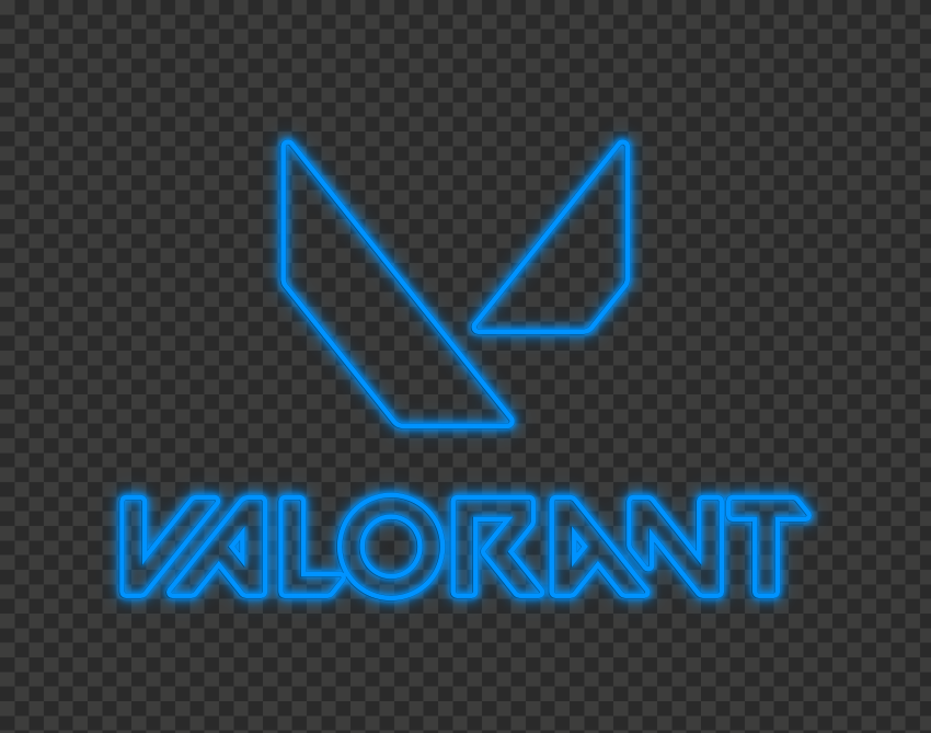 HD Valorant Neon Blue Logo With Symbol PNG