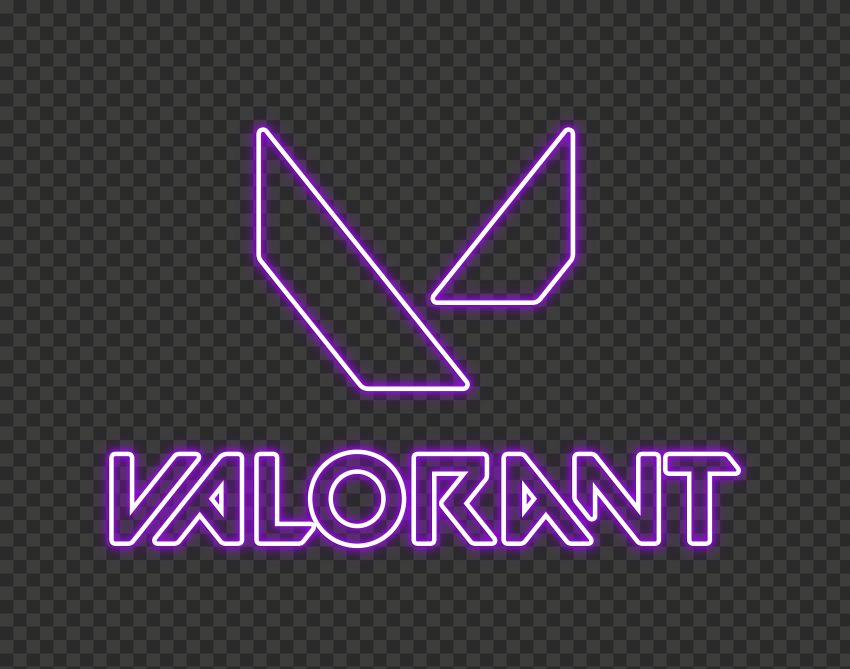 HD Valorant Purple Neon Logo With Symbol PNG