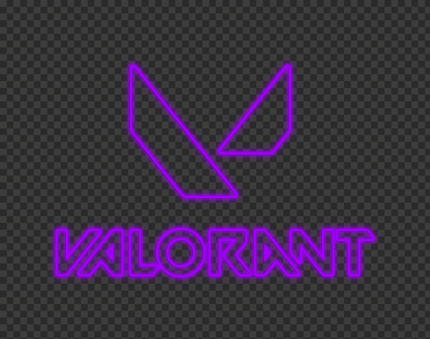 HD Valorant Neon Purple Logo With Symbol PNG