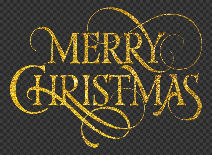 HD Golden Gold Glitter Merry Christmas Text PNG