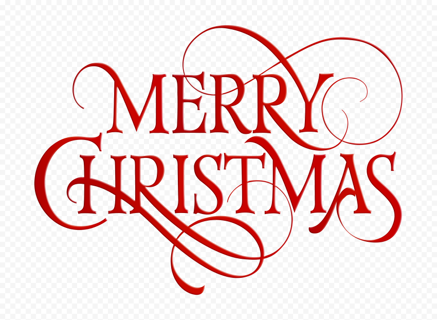 HD Red Merry Christmas Text Logo PNG