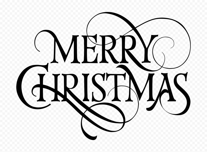 HD Black Merry Christmas Text Logo PNG