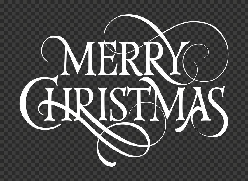 HD White Merry Christmas Text Logo PNG