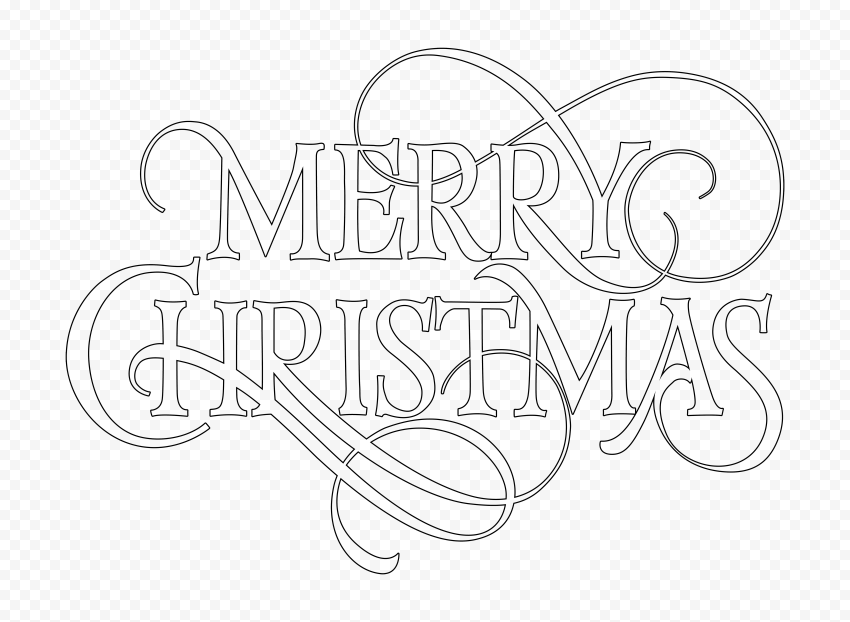 HD Black Outline Merry Christmas Word Text Logo PNG