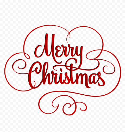 HD Red Merry Christmas Calligraphy Text Logo PNG