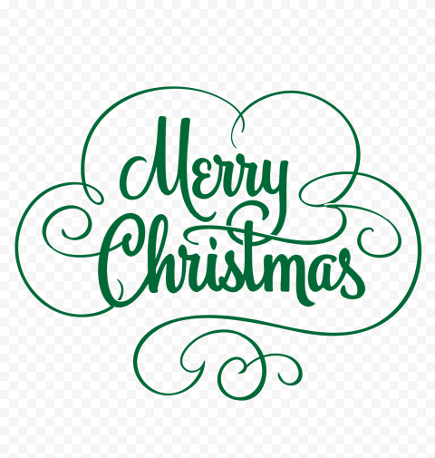 HD Green Merry Christmas Calligraphy Text Logo PNG