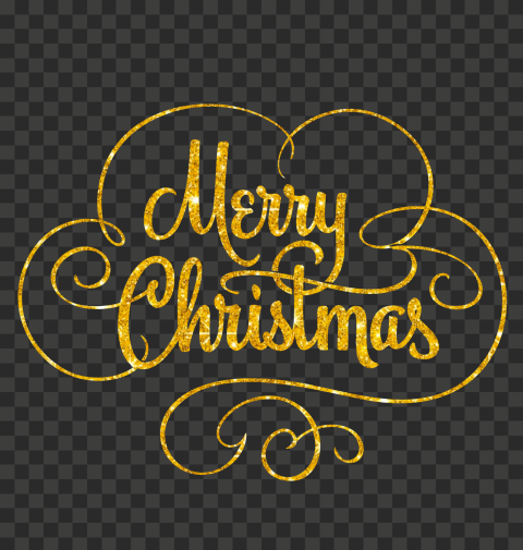 HD Gold Glitter Merry Christmas Calligraphy Text Logo PNG