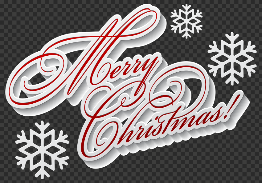 HD Beautiful Merry Christmas Text With Snowflakes Logo PNG