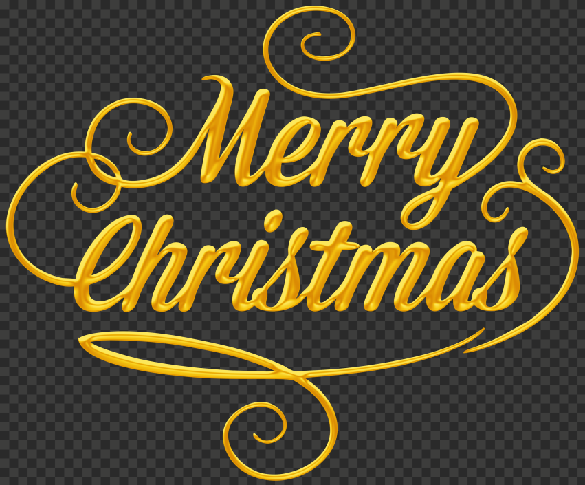 HD Beautiful Yellow Gold Merry Christmas Text Logo PNG