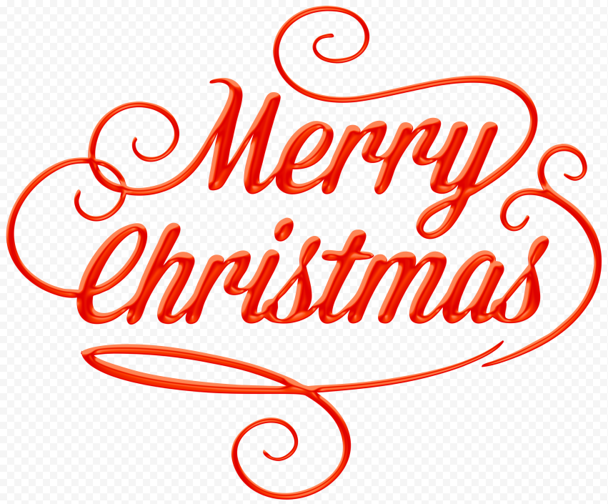 HD Beautiful Red Merry Christmas Text Logo PNG