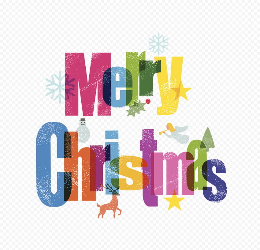 HD Merry Christmas Text Logo Clipart PNG