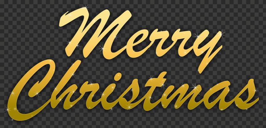 HD Golden Gold Merry Christmas Text Logo PNG