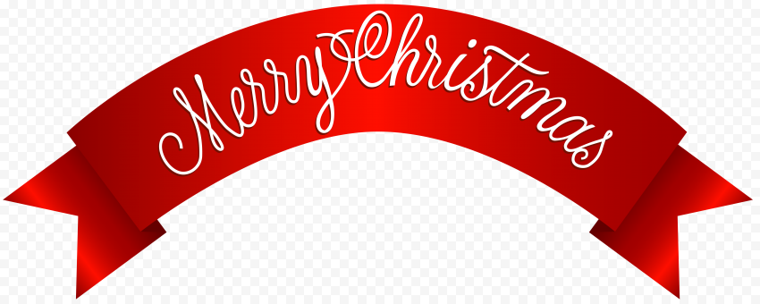 HD Red Ribbon Contains Merry Christmas Text Logo PNG