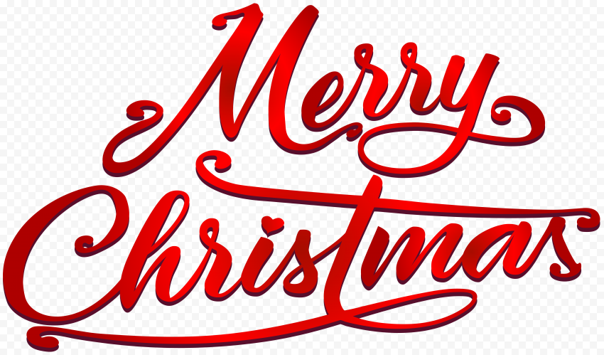 HD 3D Red Merry Christmas Calligraphy Text Logo PNG
