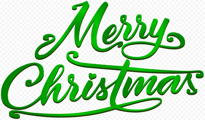 HD 3D Green Merry Christmas Calligraphy Text Logo PNG