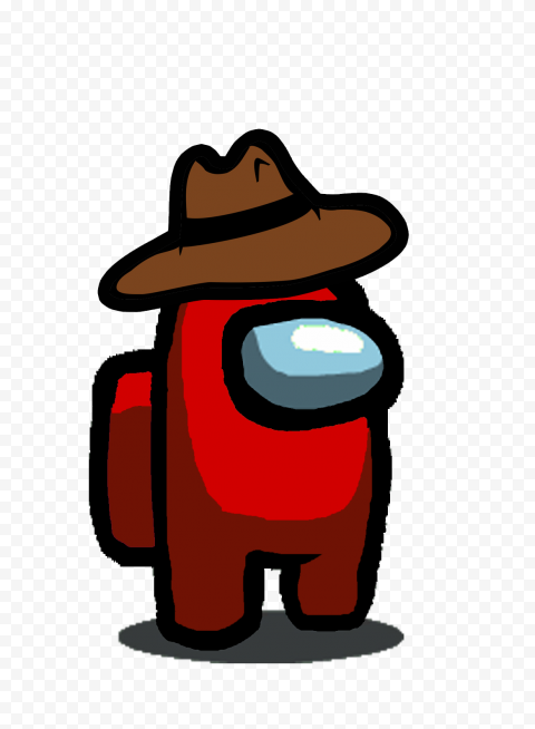 HD Red Among Us Character With Cowboy Hat PNG | Citypng