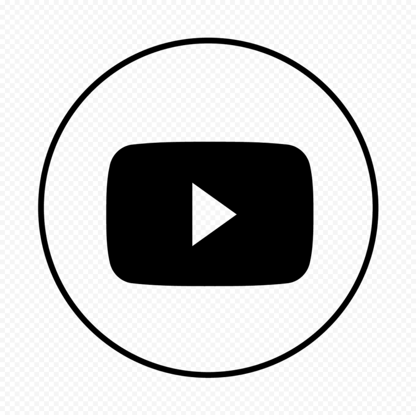 HD Black Outline Round Youtube YT Logo Icon PNG