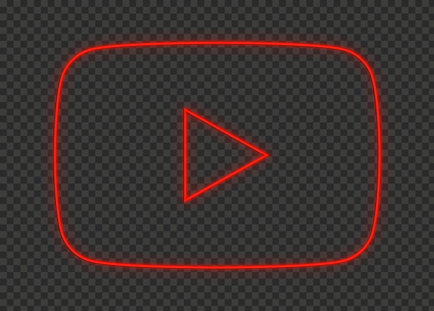 HD Youtube YT Red Neon Logo Symbol Sign Icon PNG