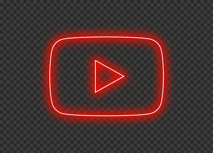 HD Red Neon Youtube YT Logo Symbol Sign Icon PNG