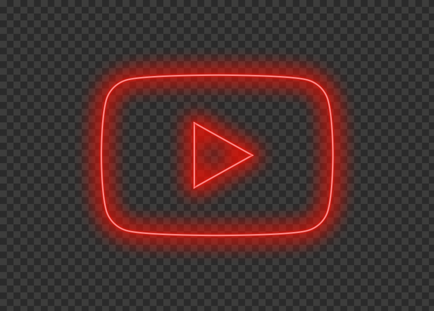 HD Aesthetic Youtube YT Red Neon Logo Symbol Sign Icon PNG