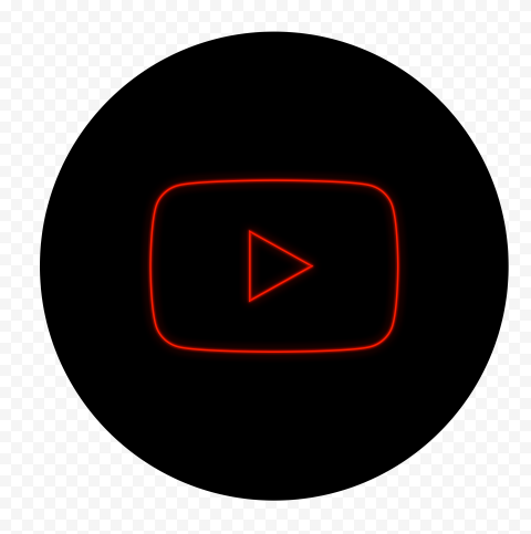 HD Black & Red Neon Round Youtube YT Sign Symbol PNG