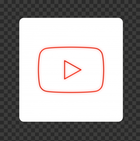 HD White & Red Neon Square Youtube YT Sign Symbol PNG