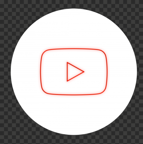 HD White & Red Neon Round Youtube YT Sign Symbol PNG