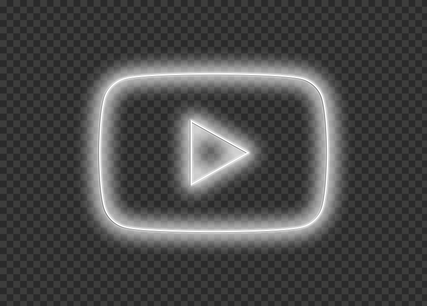 HD White Youtube YT Neon Logo Symbol Sign Icon PNG