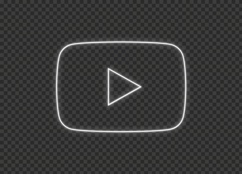 HD Youtube YT White Neon Logo Symbol Sign Icon PNG