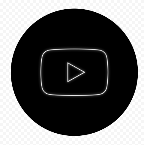 HD Black & White Neon Round Youtube YT Sign Symbol PNG
