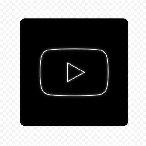 HD Black & White Neon Square Youtube YT Sign Symbol PNG