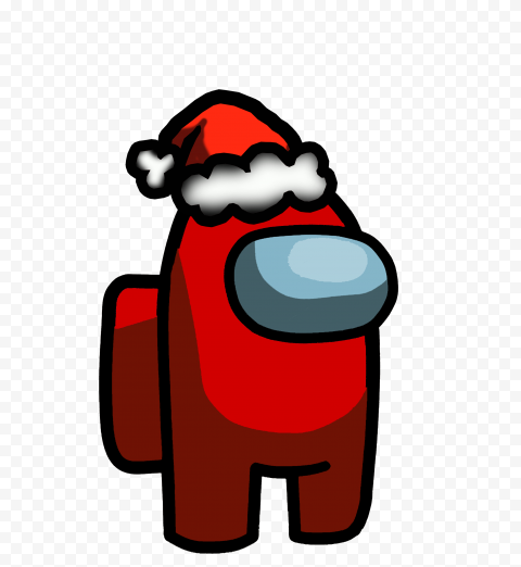 HD Red Among Us Crewmate Character With Santa Hat PNG