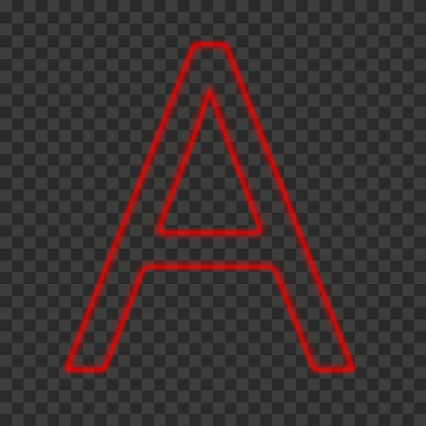 HD A Letter Alphabet Outline Neon Red Color PNG