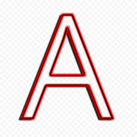 HD Red A Letter Alphabet Outline Neon PNG