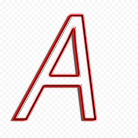 HD Red A Italic Letter Alphabet Outline Neon PNG