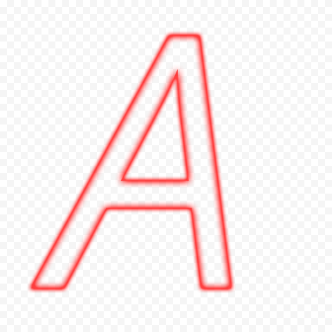 HD A Italic Letter Alphabet Outline Neon Red Color PNG