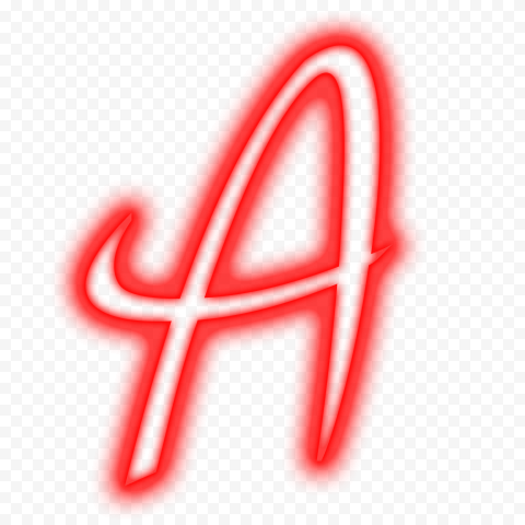 HD A Letter Alphabet Text Outline Red Neon PNG