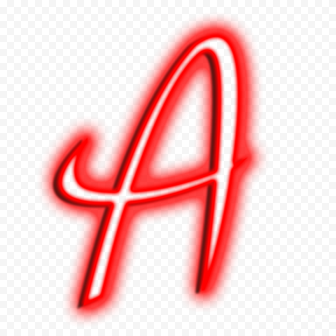 HD Red A Letter Text Alphabet Outline Neon PNG