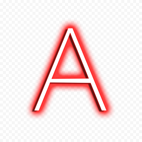 HD A Text Letter Alphabet Neon Red & White PNG