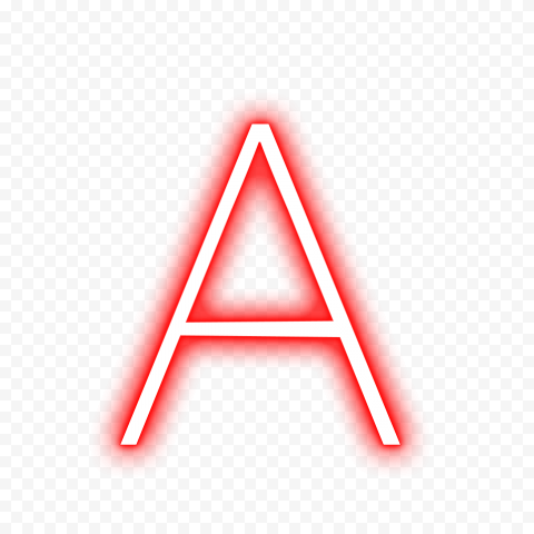 HD A Text Letter Alphabet Red & White Neon PNG