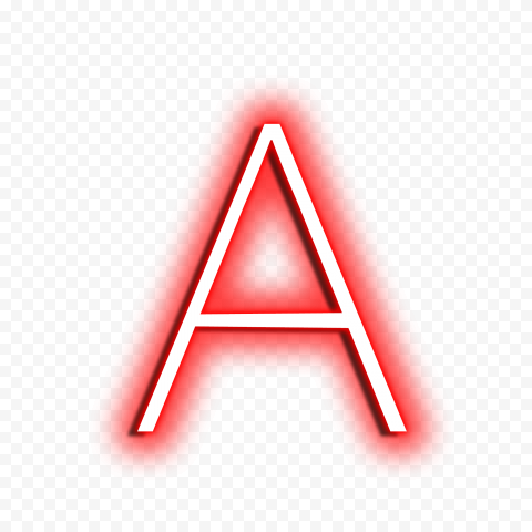 HD Red & White A Text Letter Alphabet Neon PNG