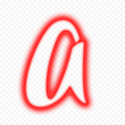 HD Red Neon Outline A Letter Alphabet PNG
