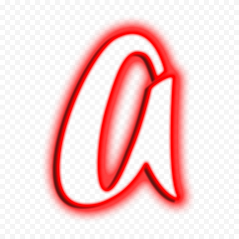 HD Red Neon Outline A Letter Text Alphabet PNG