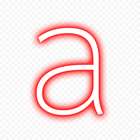 HD Neon Red & White A Letter Text Alphabet PNG