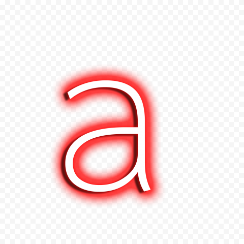 HD Red & White Neon A Letter Text Alphabet PNG