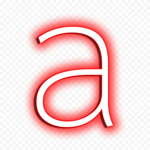 HD Neon A Letter Text Alphabet Red & White PNG