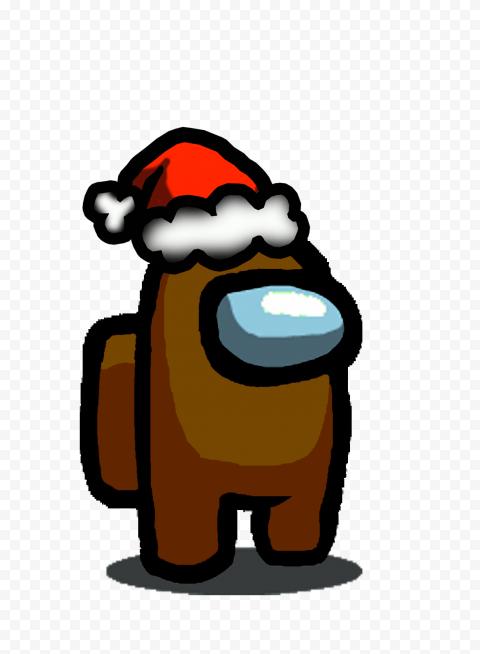 HD Brown Among Us Character With Santa Hat PNG