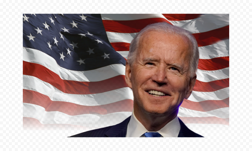 HD Joe Biden Happy Face With United States Flag PNG